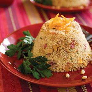Fruited Couscous Timbales with Toasted Pine Nuts