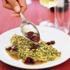 Pistachio Topped Tilapia with Balsamic Cherry Sauce