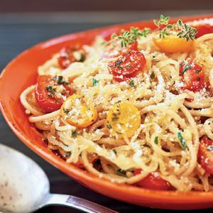 Spaghetti and Spaghetti Squash with Roasted Cherry Tomatoes