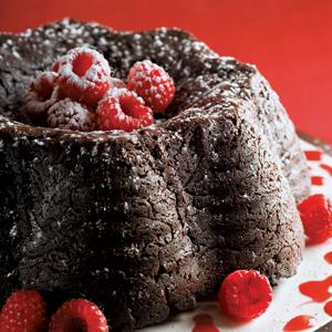 Chocolate Fudge Cake with Raspberry Coulis