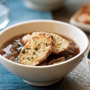 Roasted Four Onion Soup with Gruyere Croutes