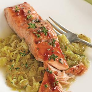 Balsamic Glazed Salmon with Creamy Leeks