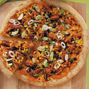 Southwestern Chicken Pizza with Chipotle Ranch Chopped Salad