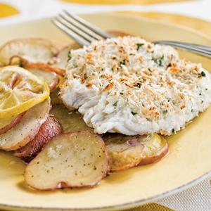 Horseradish-Crusted Cod with Lemon Roasted Potatoes
