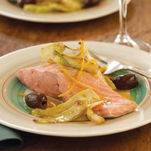 Poached Salmon with Fennel, Olives, and Orange