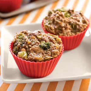 Cheddar and Broccoli Meat Loaf Muffins
