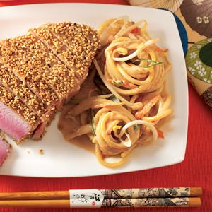 Sesame Crusted Tuna Steaks with Sesame Noodles