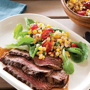 Steak with Grilled Corn Salad