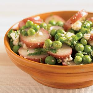 Potato and Fresh Pea Salad with Mint and Feta Cheese