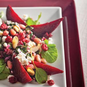 Beets Beans  and Greens with Cranberry Dressing
