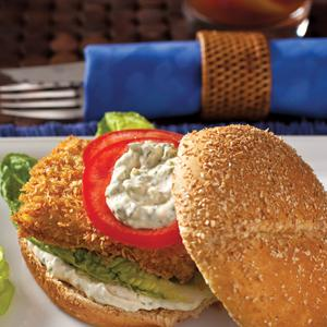Crispy Fish Sandwiches with lighter Tartar Sauce