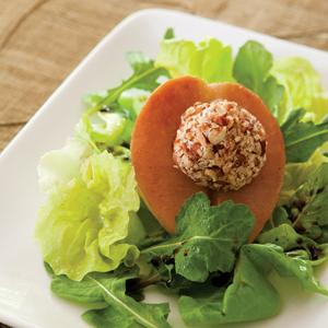Roasted Pear Salad and Pecan Goat Cheese Balls