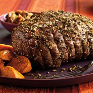 Herb-Crusted Petite Roast with Fig-Onion Relish