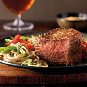 Asian Top Loin Filets with Soba Noodle and Vegetable Salad