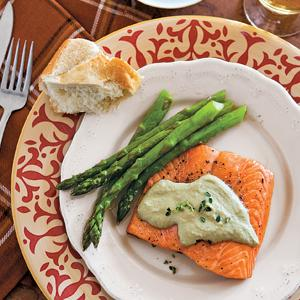 Steelhead Trout with Asparagus Cashew Cream