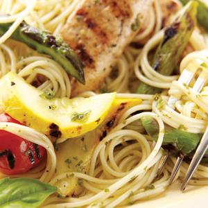 Angel Hair Pasta with Grilled Lemon Basil Chicken