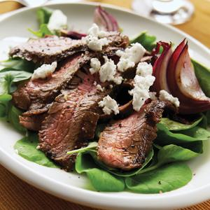 Grilled Flank Steak with Watercress and Goat Cheese Salad