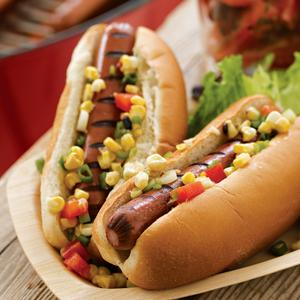 Turkey Dogs with Two Grilled Toppings