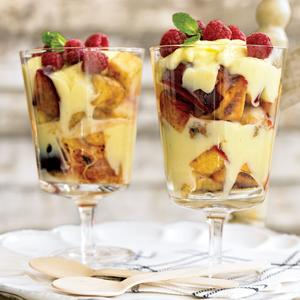 Grilled Maple-Glazed Fruit Salad with Lemon Custard