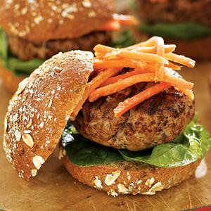 Grilled Tuna Sliders with Ginger-Carrot Slaw