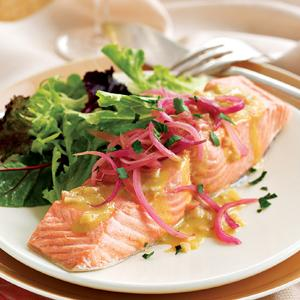 Poached Wild Salmon with Pickled Onions