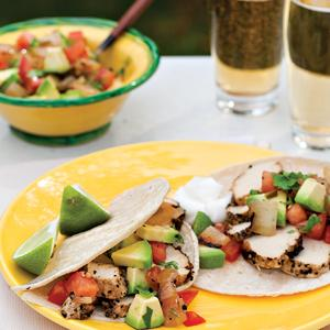 Grilled Chicken Soft Tacos w/ Salsa