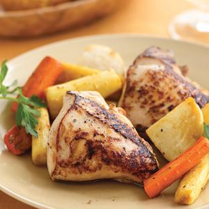 Pan-Roasted Chicken with Glazed Root Vegetables