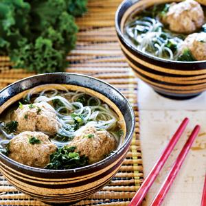 Asian Meatball Soup with Kale and Rice Noodles