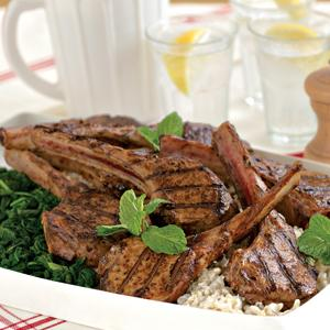 Balsamic Lamb Chops w/ Creamy Minted Rice