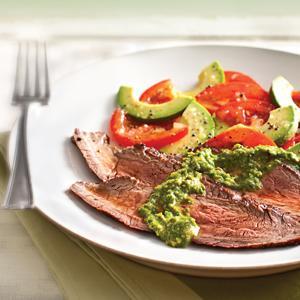 Spicy Arugula-Pistachio Pesto w/ Flank Steak