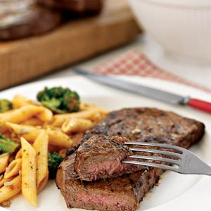 Marinated Angus Rib Eye Steaks w/  Pasta Salad