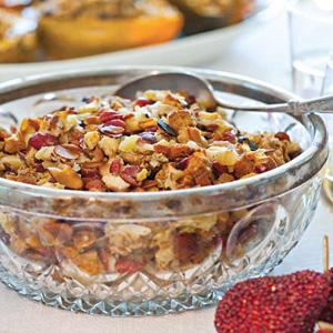 Pomegranate Glazed Turkey with Apple-Almond Stuffing