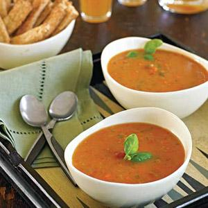 Tomato Basil Buttermilk Soup with Zesty Cheese Straws