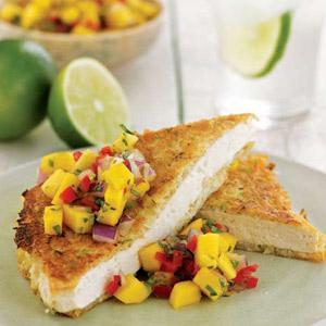 Coconut Lime-Crusted Tofu with Mango Orange Salsa