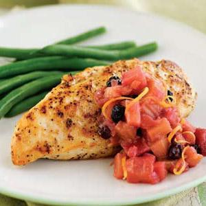 Pan-Seared Chicken with Grapefruit Rhubarb Chutney