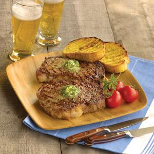 Father's Day Grilled Ribeye with Pesto Butter
