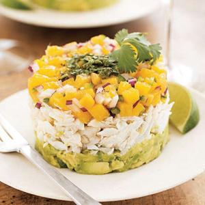 Mango Crab Towers with Mean Green Vinaigrette