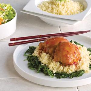 Sweet and Sour Chicken with Couscous and Garlic Spinach