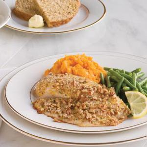 Pecan Tilapia with Sweet Potatoes and Green Beans