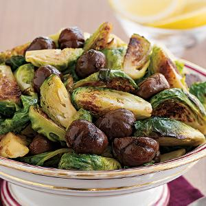 Roasted Chestnuts and Brussels Sprouts