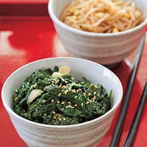 Marinated Spinach Banchan and Bean Sprout Banchan
