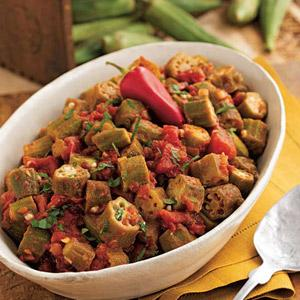 Spicy Tomatoes and Okra