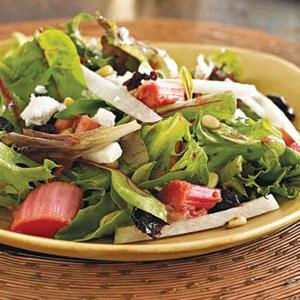 Roasted Rhubarb and Berry Green Salad