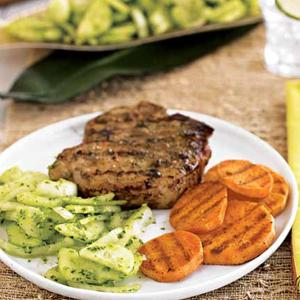 Grilled Pork and Sweet Potatoes with Cucumber-Onion Salad