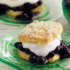 Lime Cornmeal Shortcakes with Blueberries