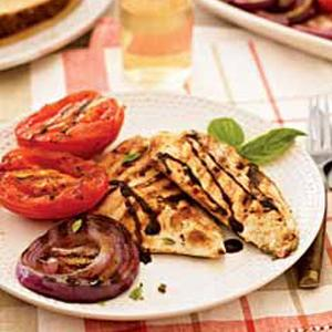 Balsamic Chicken Breasts with Grilled Onions and Tomatoes
