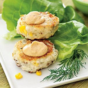 Cod Cakes with Shiitake and Corn