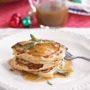 Apple-Cheddar Pancakes with Sage Cider Syrup