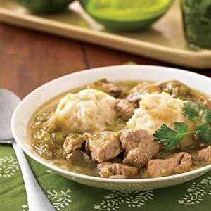 Pork-Tomatillo Soup with Scallion-Potato Dumplings