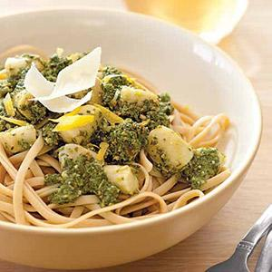 Linguine with Scallops and Lemony Kale Pesto